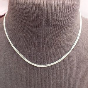 "Sterling Silver Three Strand 16"" Choker Necklace"
